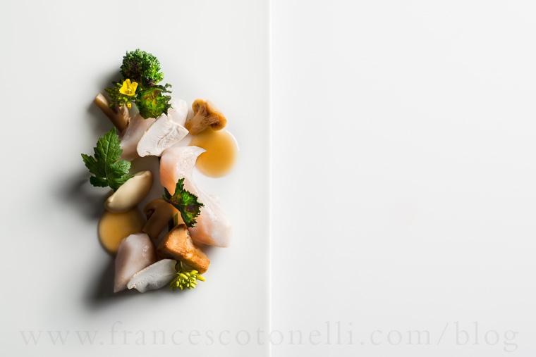 Tilefish with Matsutakes and Broccoli Rabe