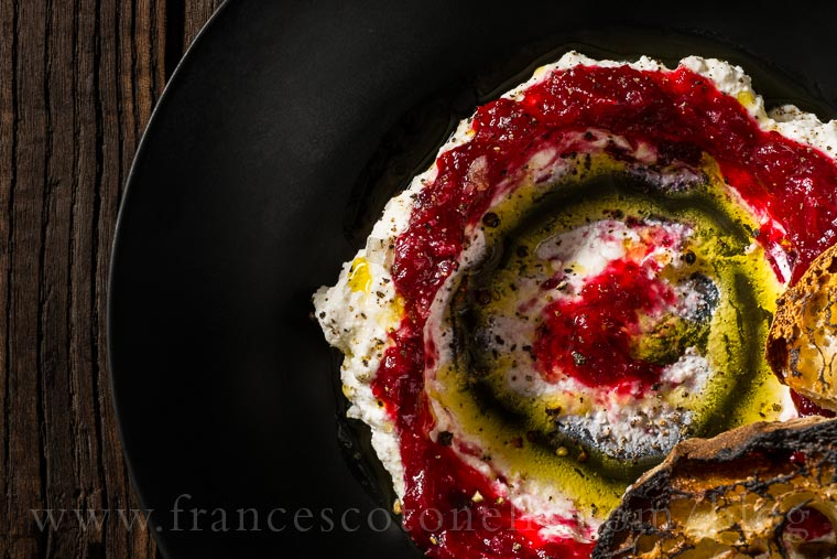 Ricotta and Smashed Cranberries, Grilled Sourdough