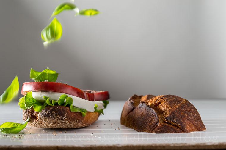 Mozzarella, tomato and basil sandwich