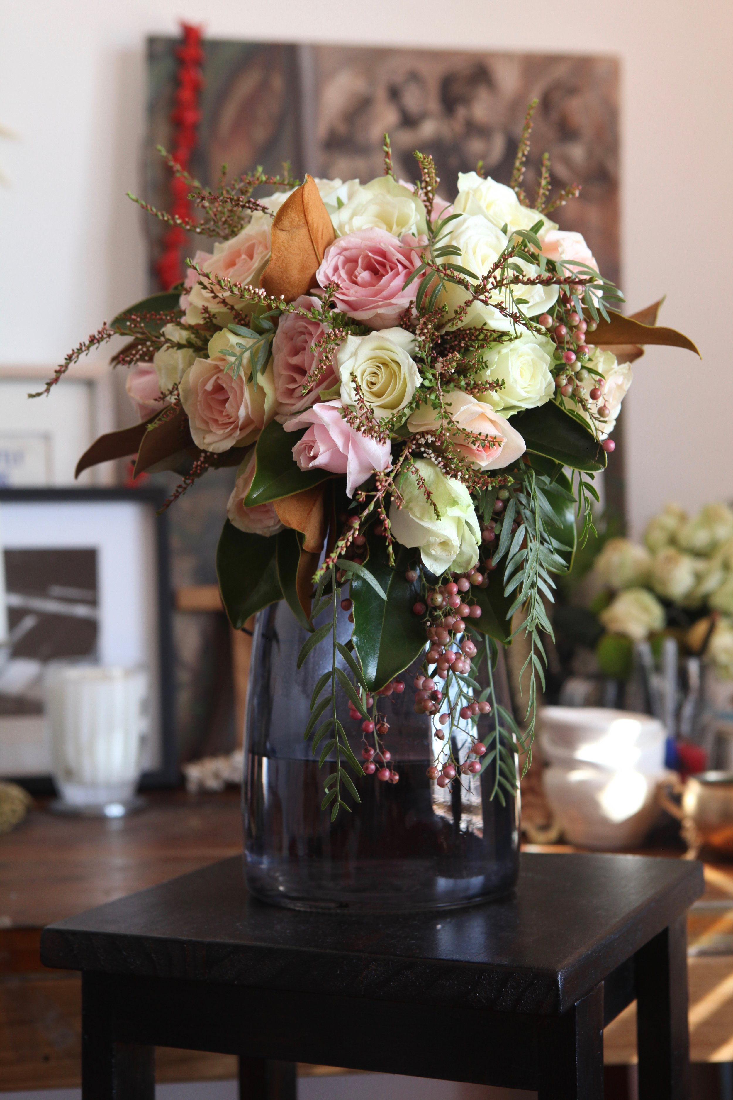A wired boho-inspired bouquet. Wired means that the rose or flower heads are cut off the stem and then attached to a piece of wire. When you wire flowers, you can control and manipulate the way that they will sit in a bouquet. It's a labour intensive floristry technique but worthwhile if you want to achieve a certain look or style.