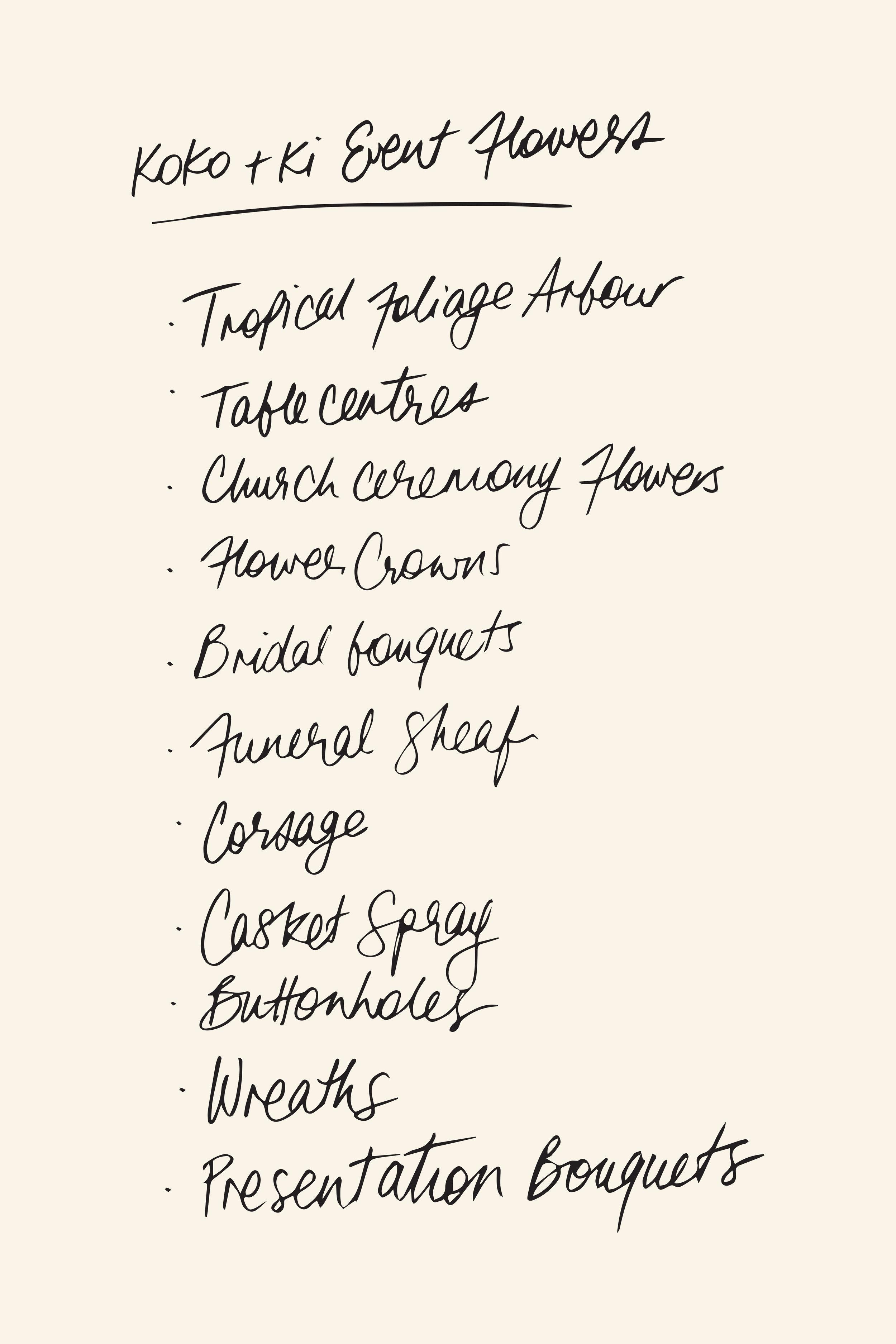 A list of what Koko & Ki can create.
