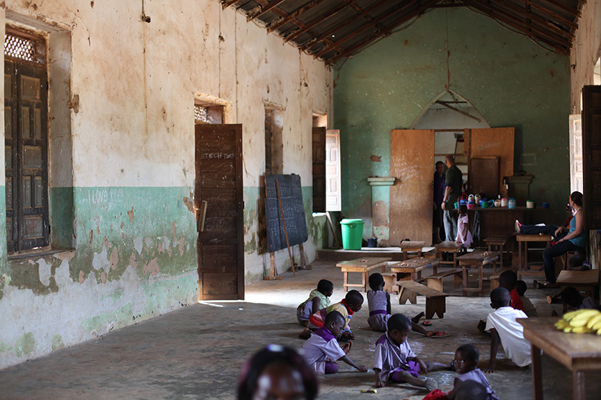 A photo of the inside of an old church in the village that is used a school. Loved this building and village so much! that I made sure to go 3 times a week to the school within my 6 week working holiday.
