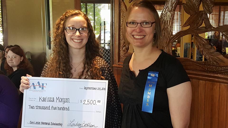 Jim Leslie Scholarship Winner Karissa Morgan with Past President Danielle Richard