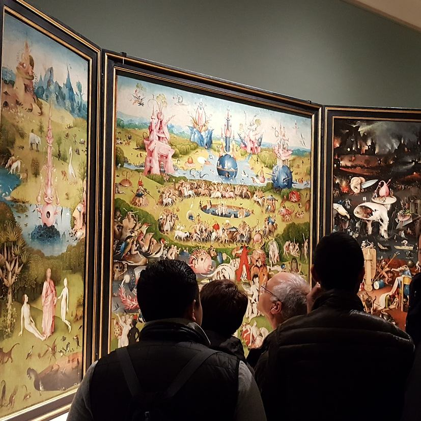 Hieronymous Bosch's The Garden of Earthly Delights wowed the big crowd at the Museo del Prado in Madrid.The triptych tells the take of indulgence and divine punishment. This was just one of the massive works throughout this huge museum.