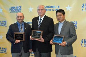 2017 Rice Award recipients: (from left) Rice Farmer of the Year, Christian Richard; Rice Lifetime Achievement Award, Chuck Wilson; and Rice Industry Award, Xueyan Sha.