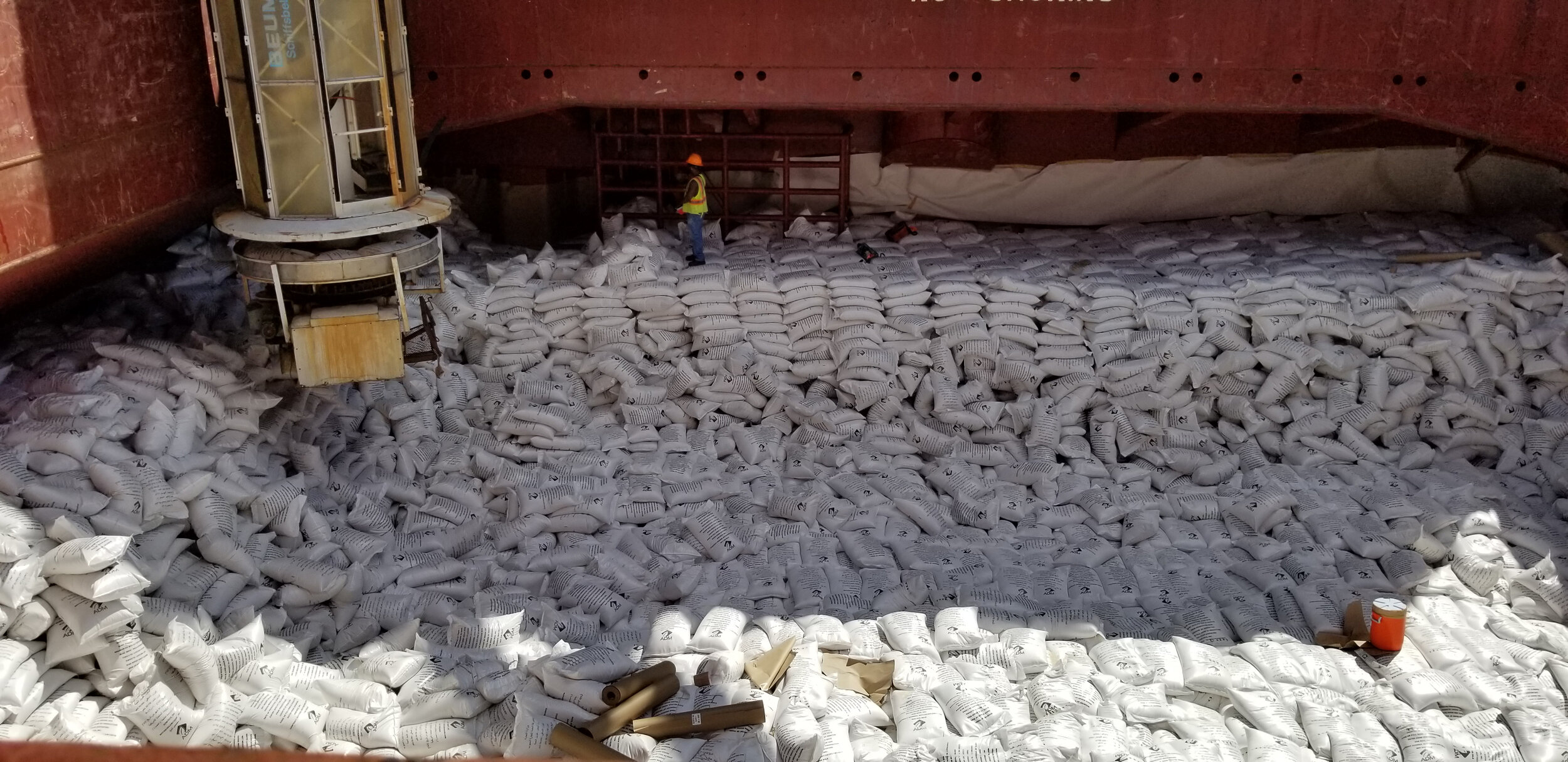 US Rice being loaded at the Port of Lake Charles for shipment to Iraq.