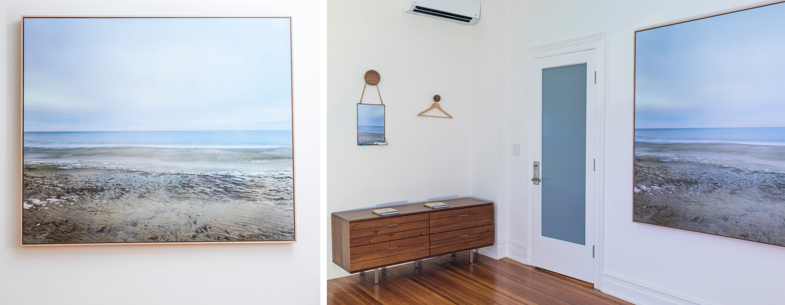 "Installation shots from The Yard (above) and Lightning Whelk (below) exhibits. Framed works are 60x75"", varnished but unglazed (no glass), float-framed with oak. Inquire for more details."