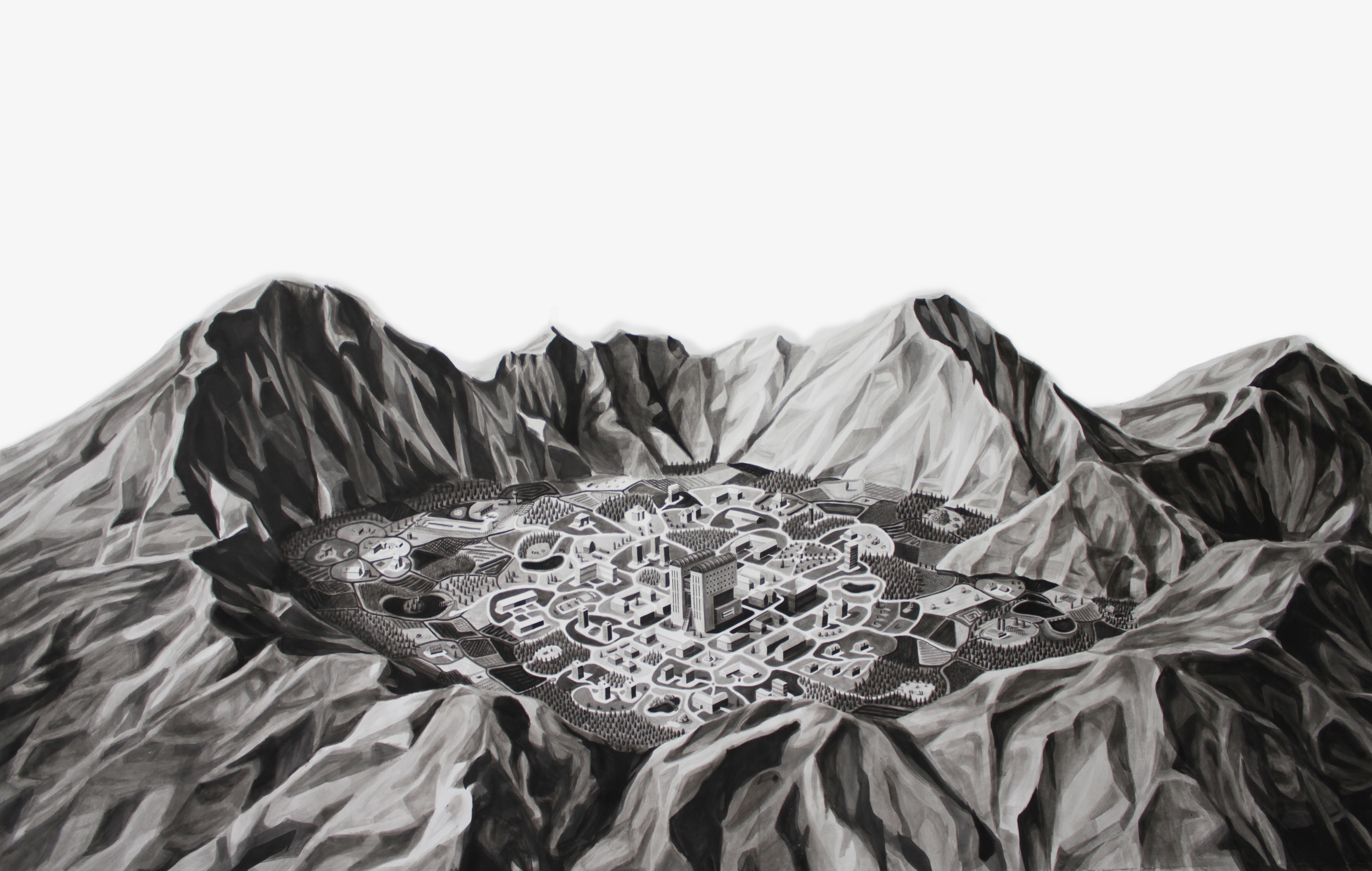 City in Volcanic Crater