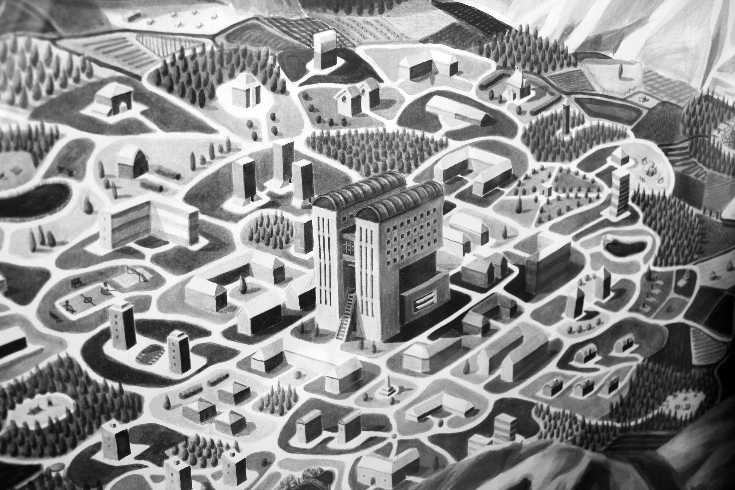 City in Volcanic Crater (detail)