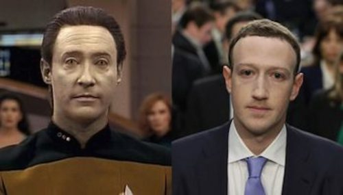 """I couldn't help myself. The character """"Data"""" from Star Trek and Mark Zuckerberg at Congressional Testimony April 2018."""
