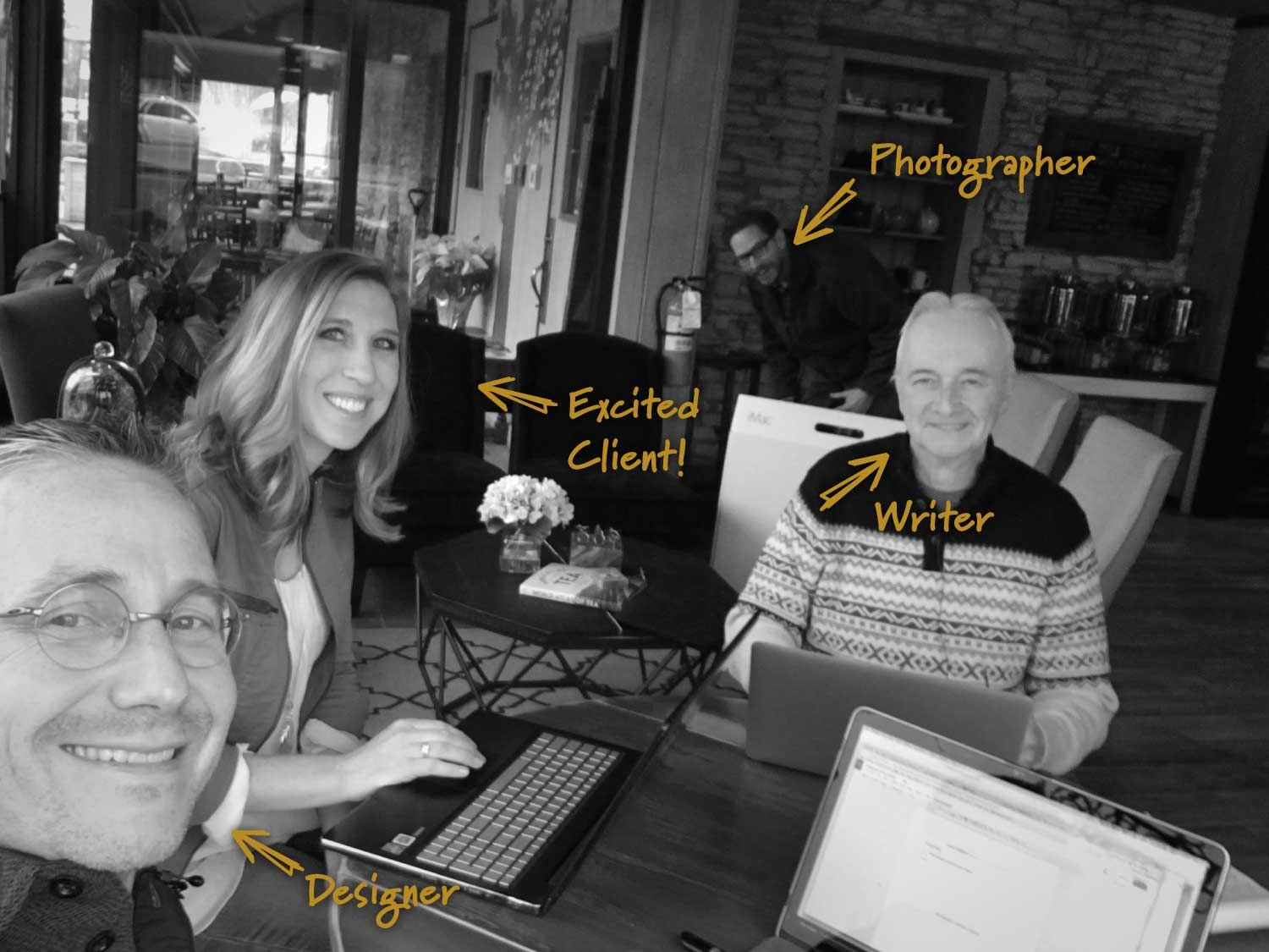 Our first website built in a single day: The Tea Tree in Batavia. From left to right: Gary Ricke, Melissa Hartmann, Andrew Schones & Richard DeVeau.