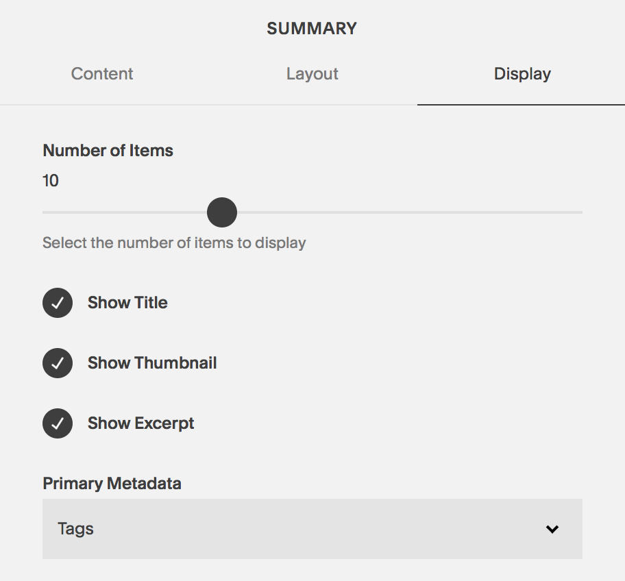 Default with Tags displayed