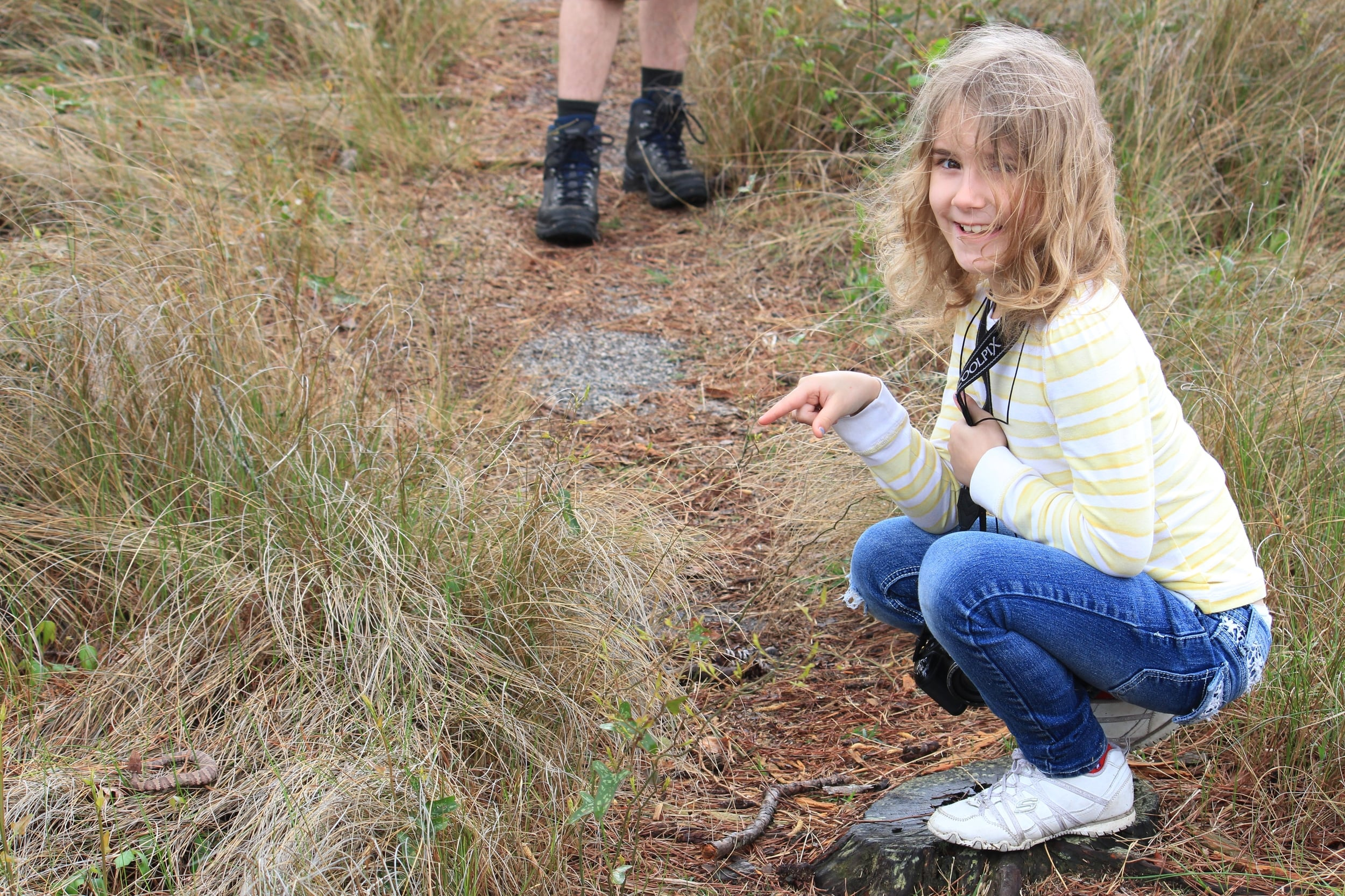 Eastern Cottonmouth - Lily with her first cottonmouth find.
