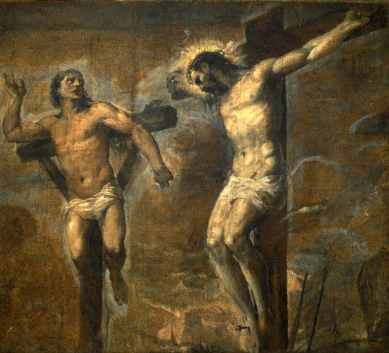 Titian's  Christ and the Good Thief . Image from Wikimedia Commons.
