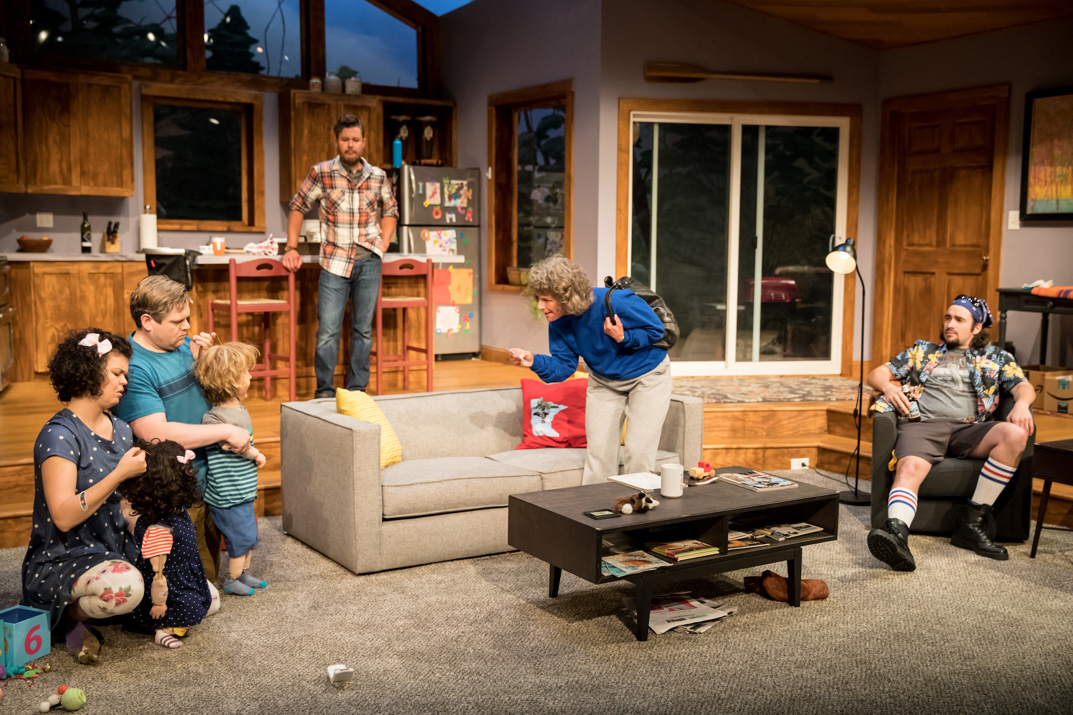 Photo by  Dan Norman . L-R: Evie ( Megan Burns ), Oscar ( Reed Sigmund) , Joyce ( Sally Wingert ) and Calvin ( Nate Cheeseman ) with Brad ( John Catron ) in the background