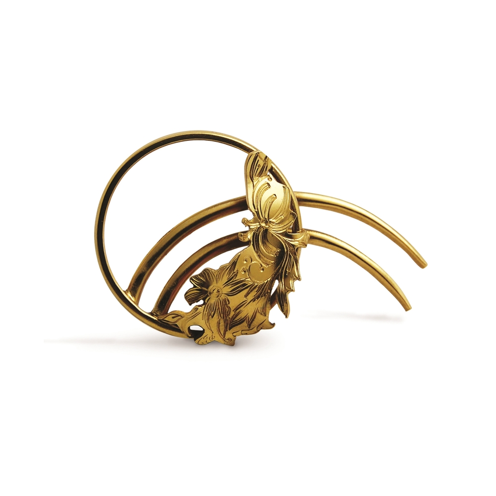 Fiona McAlear - Forget me not, hand engraved hair slide. 18ct Gold plated silver $260.jpg