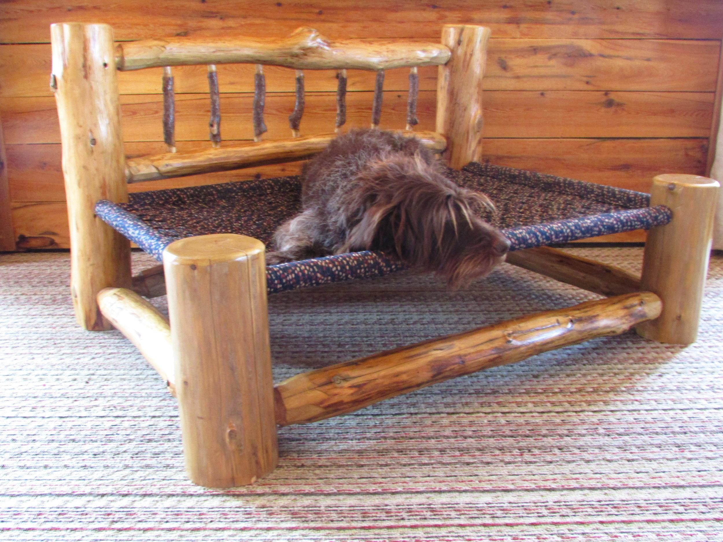 Cedar Log bed with Headboard