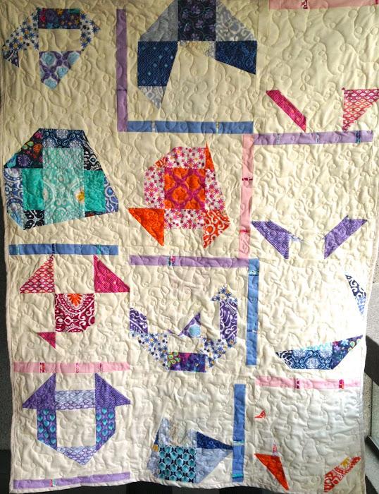 Semi-improv nine patch by Teresa Downunder.