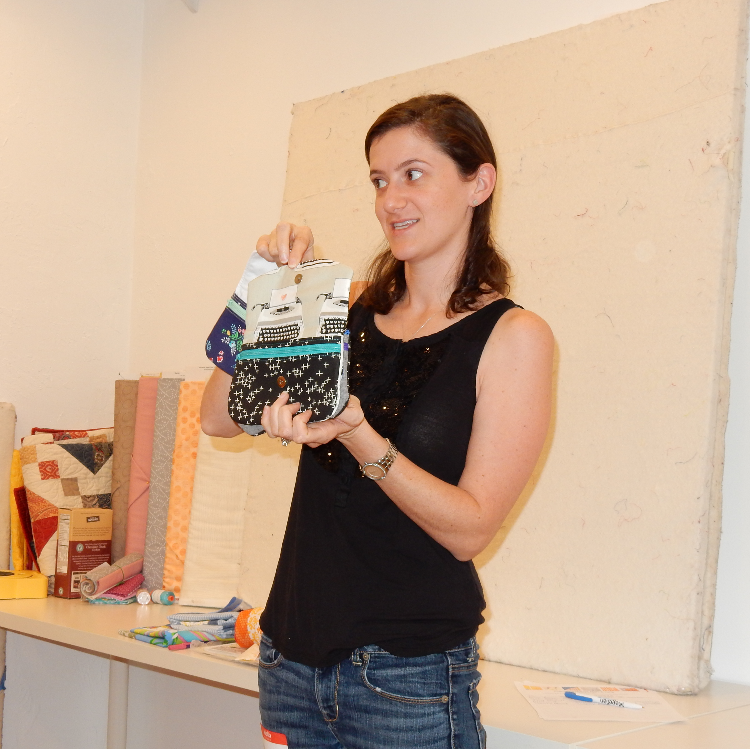 Alyson Christianson brought in some fun clutches, made with modern fabric.
