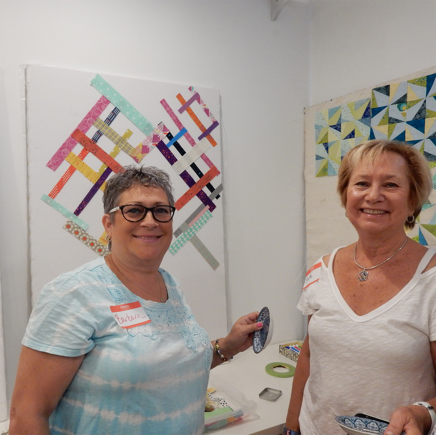 Barbara and Sheila designed a quilt using some strings and strip pieces.