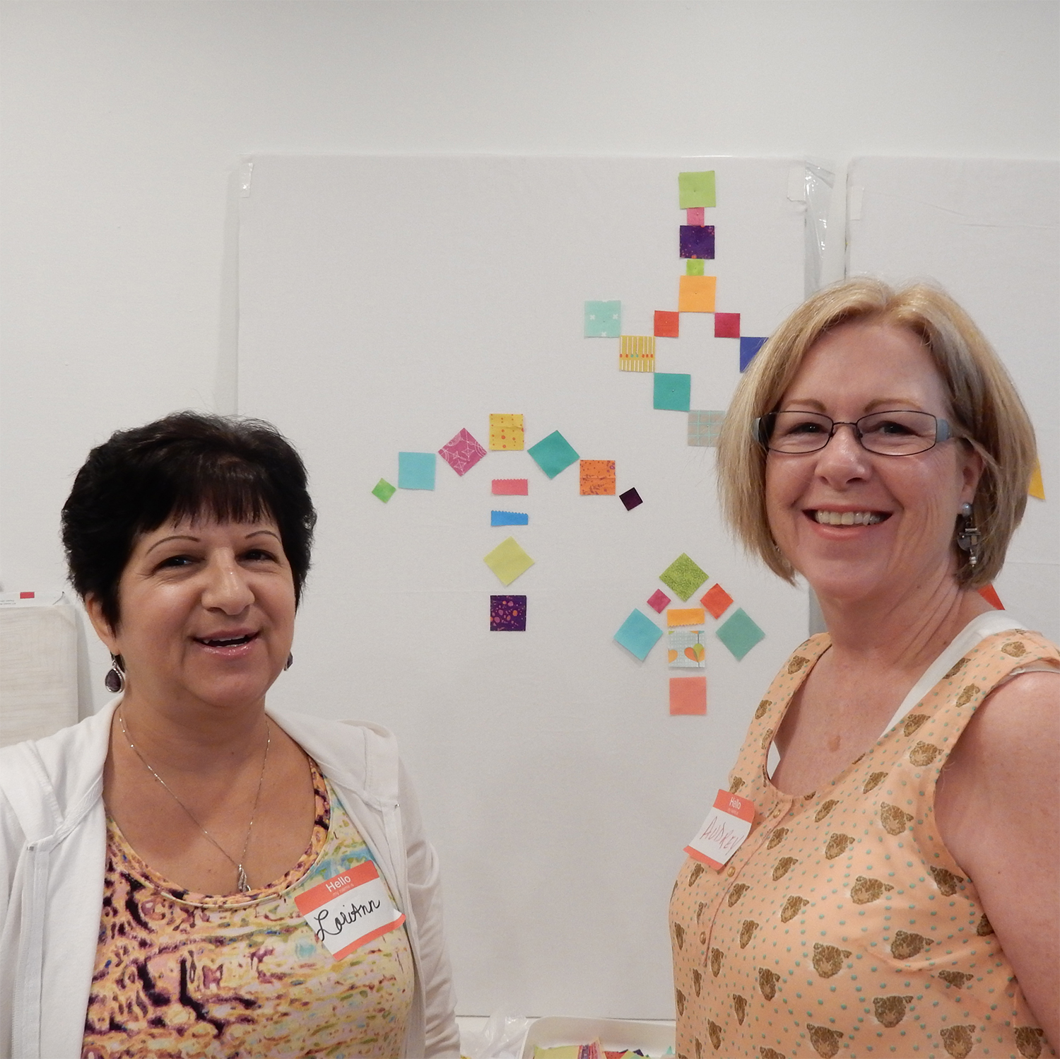 LoriAnn and Audrey made a design using different sized blocks and square scraps.