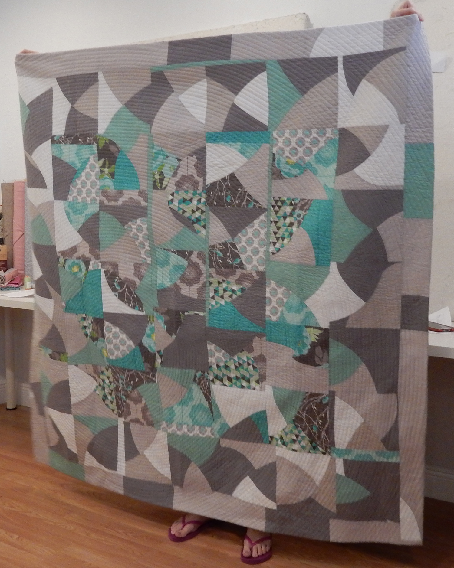 Kate Yates brought in her finished quilt from the MQG Riley Blake Challenge, from Sherri Lynn Wood's Improv Handbook