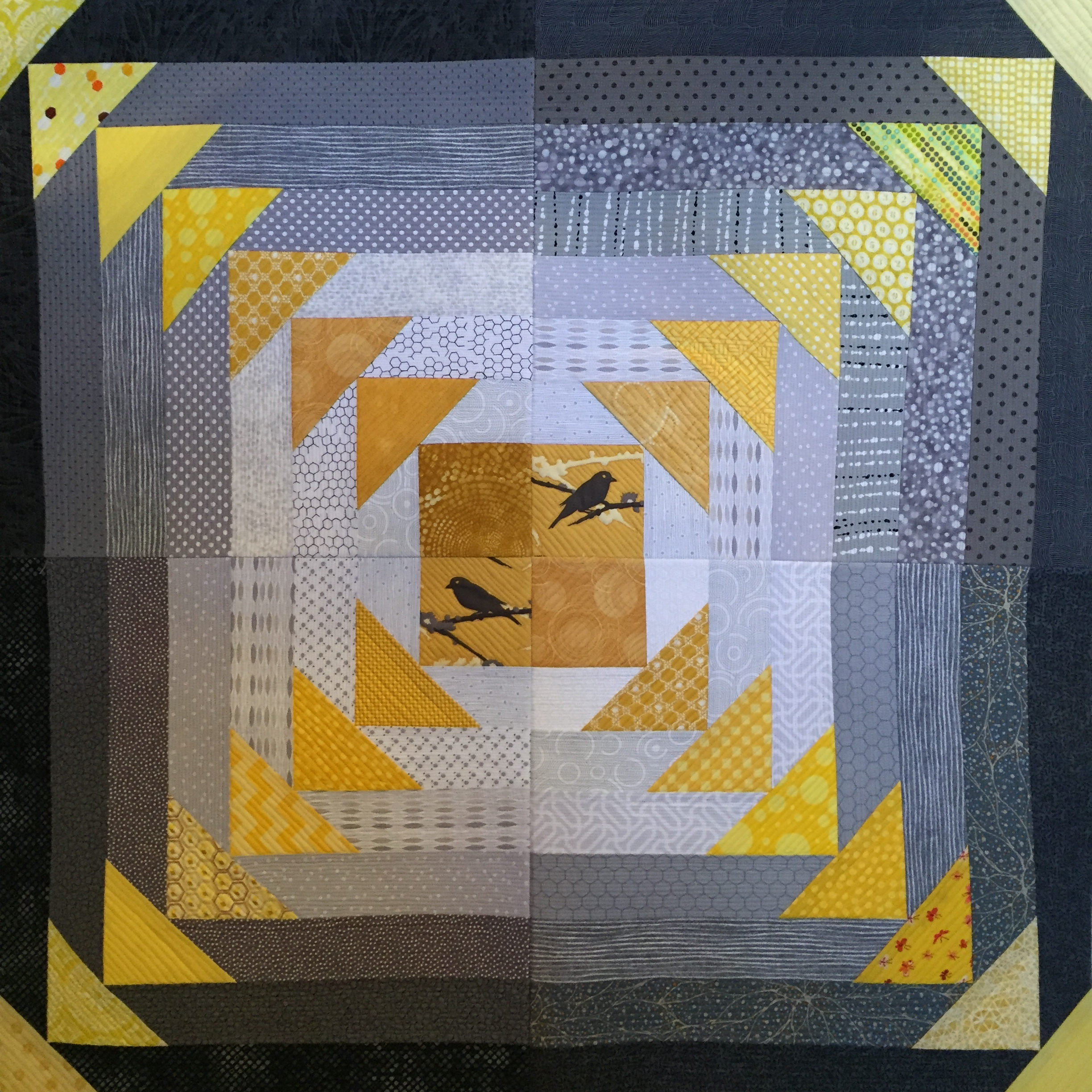 Front of Quilt As You Go with four blocks joined.