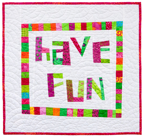 """Have Fun"",  22"" x 22"", 2009, designed, made and hand quilted in free hand fans by Tonya Ricucci."