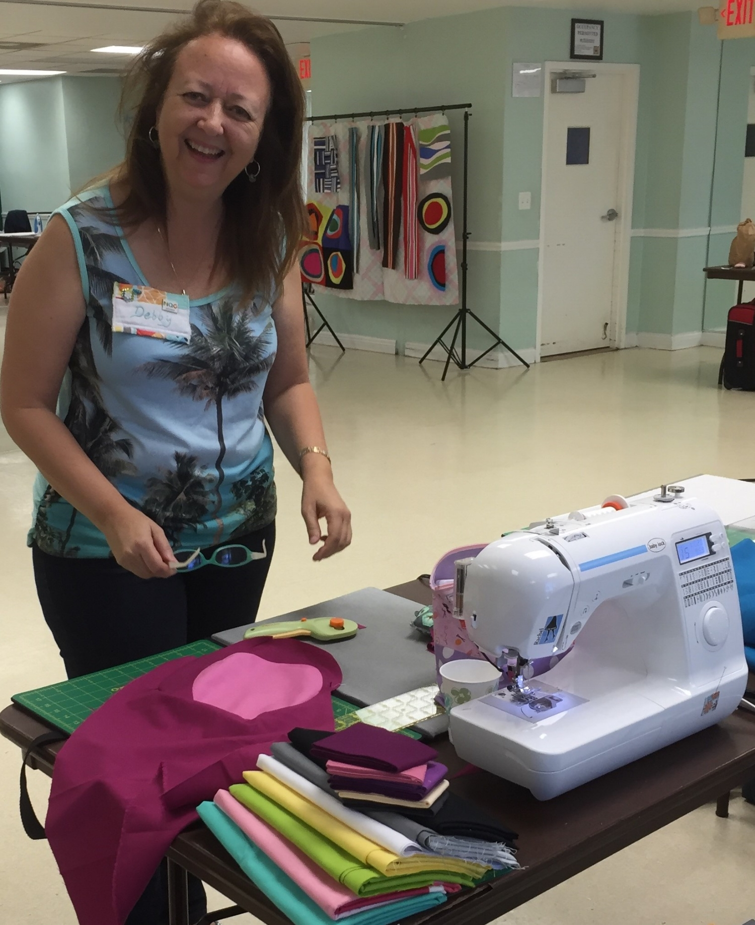 Debby Schindall working on her circle