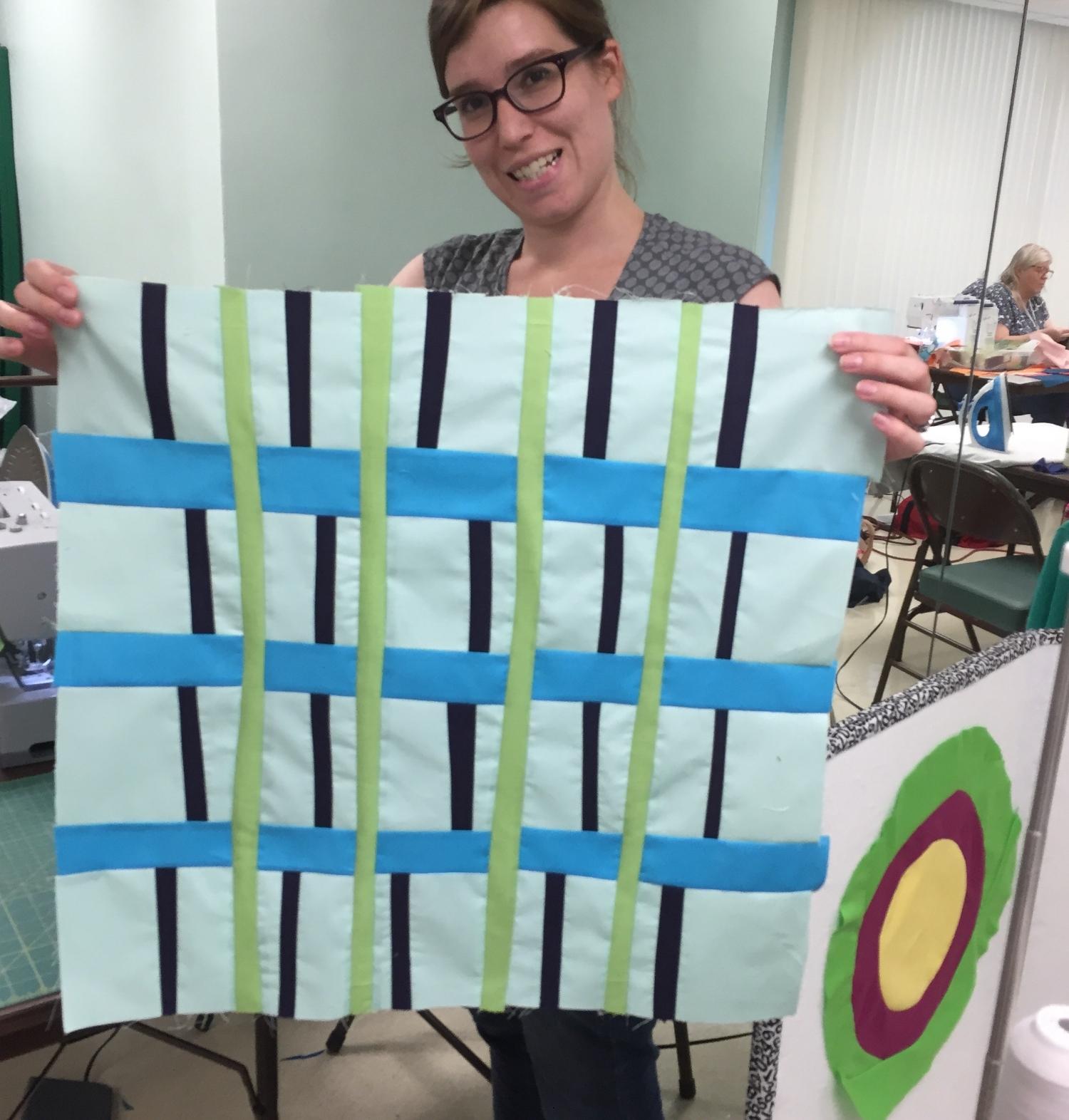 Kate Yates with plaid tartan