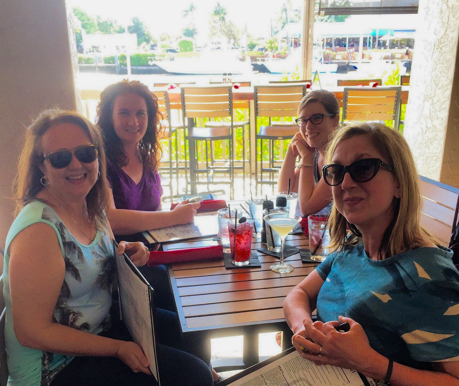 Debby, Kerrilyn, Kate and Maria at dinner after workshop.