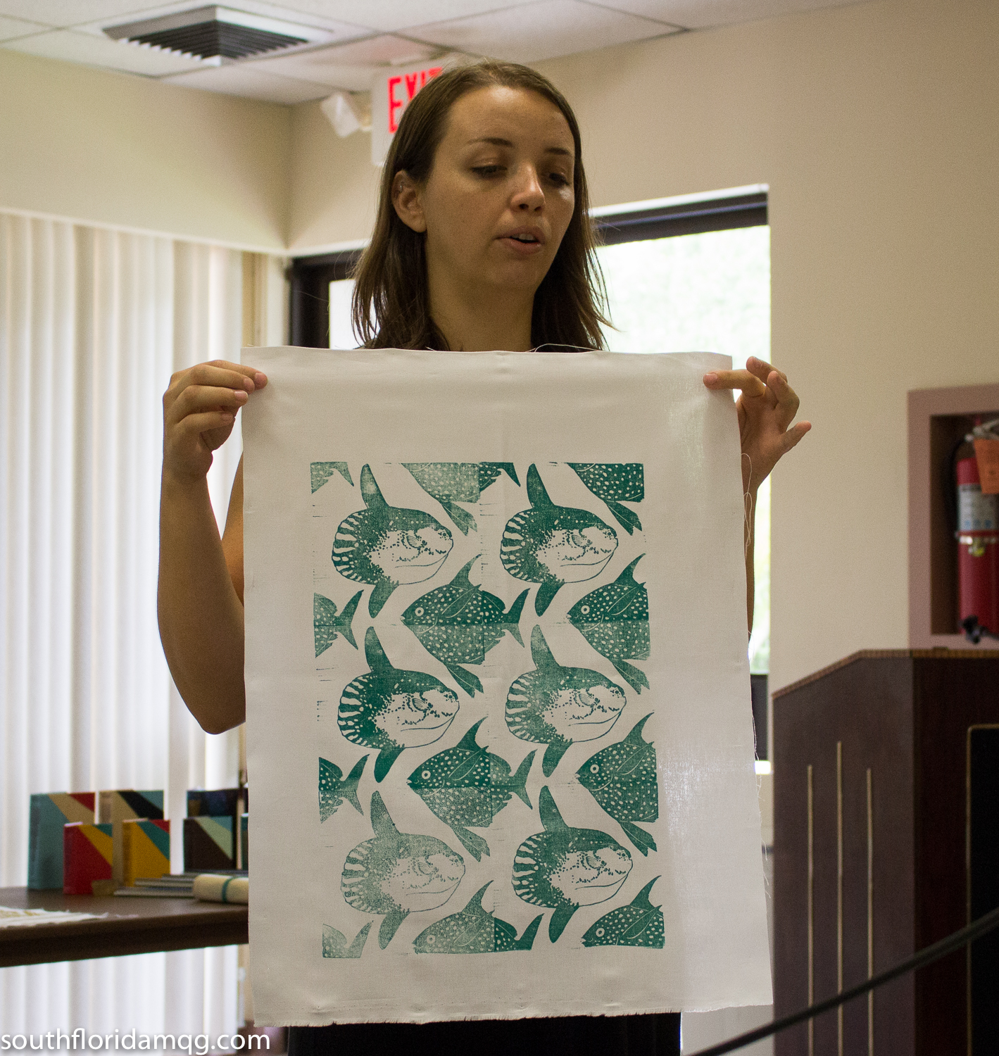 Ingrid shows the fabric she printed at our demo.