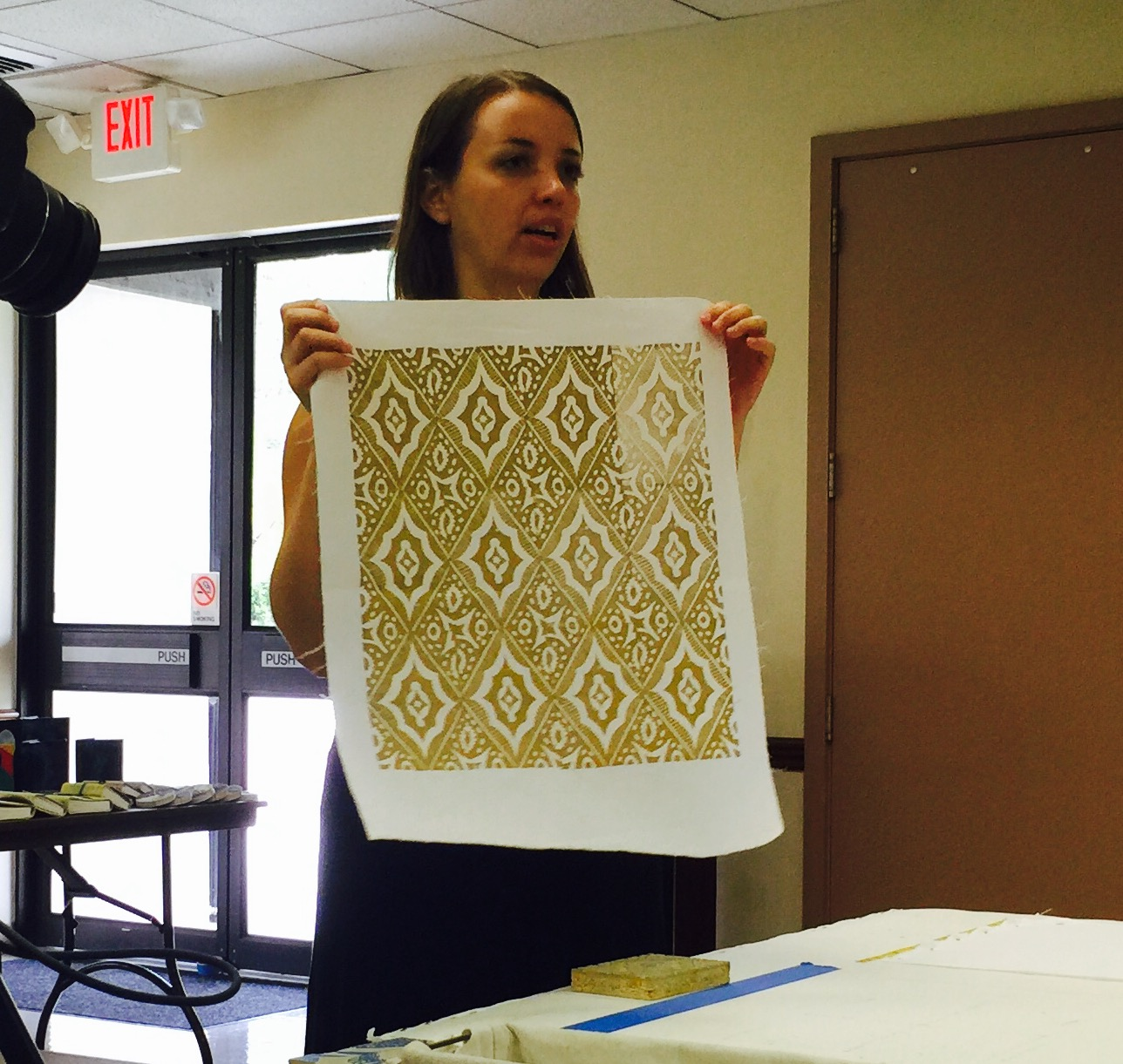 Ingrid Schindall from IS Projects block printing demo