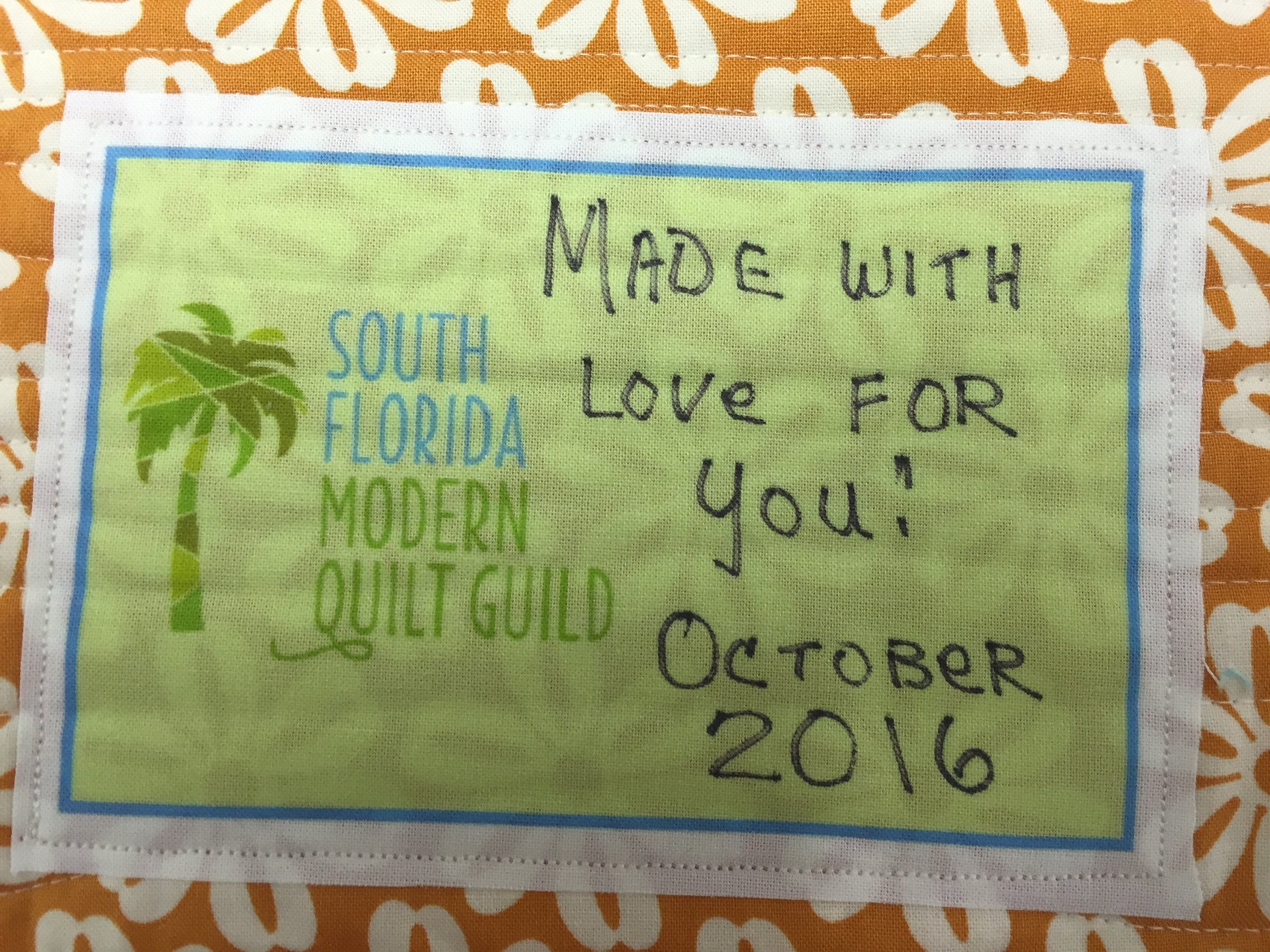 Special labels for each quilt.