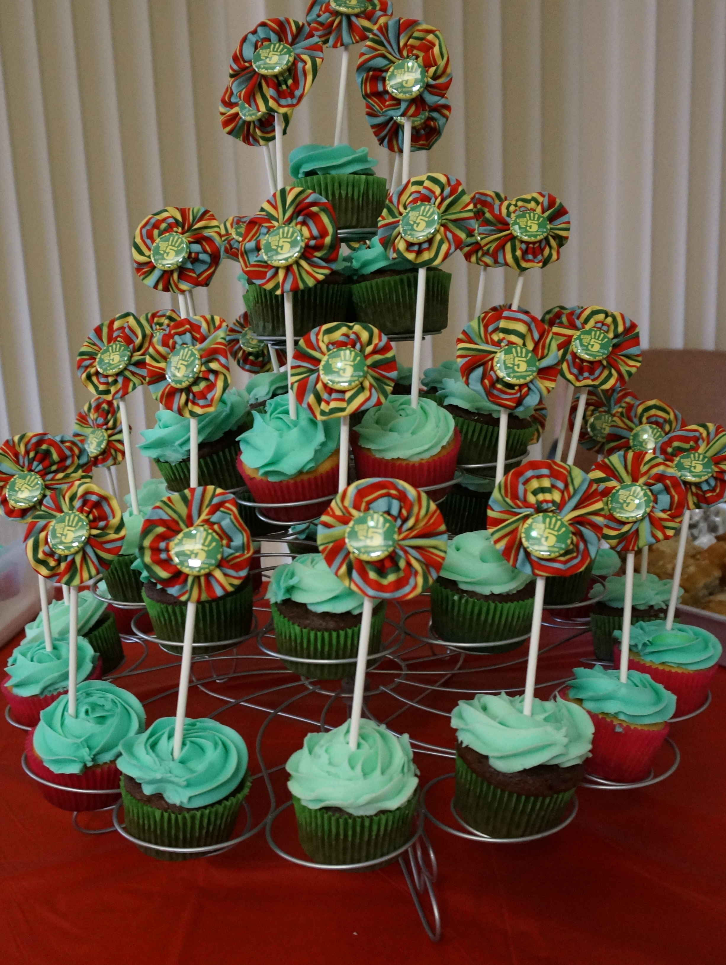 Tower of celebration cupcakes