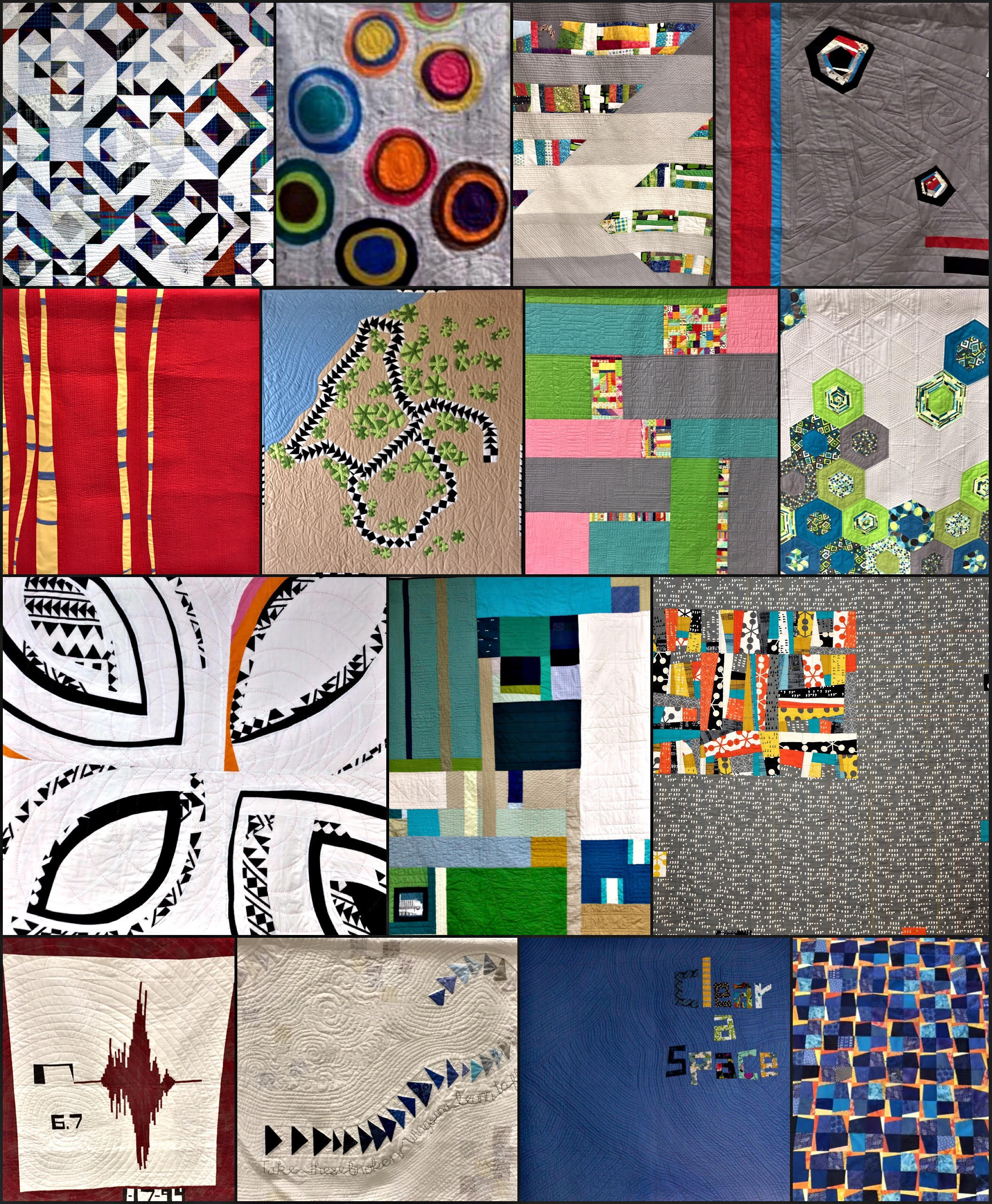 Just a few of the 33 amazing quilts in the exhibit.