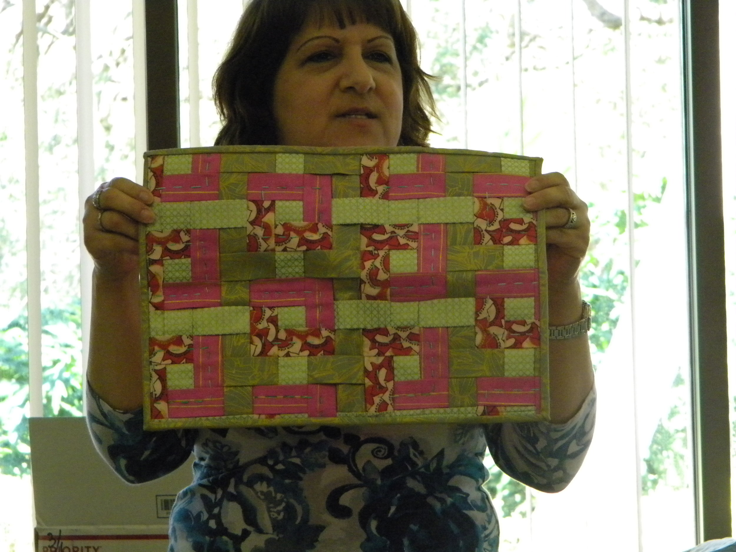 LoriAnn and her woven project. Great job!