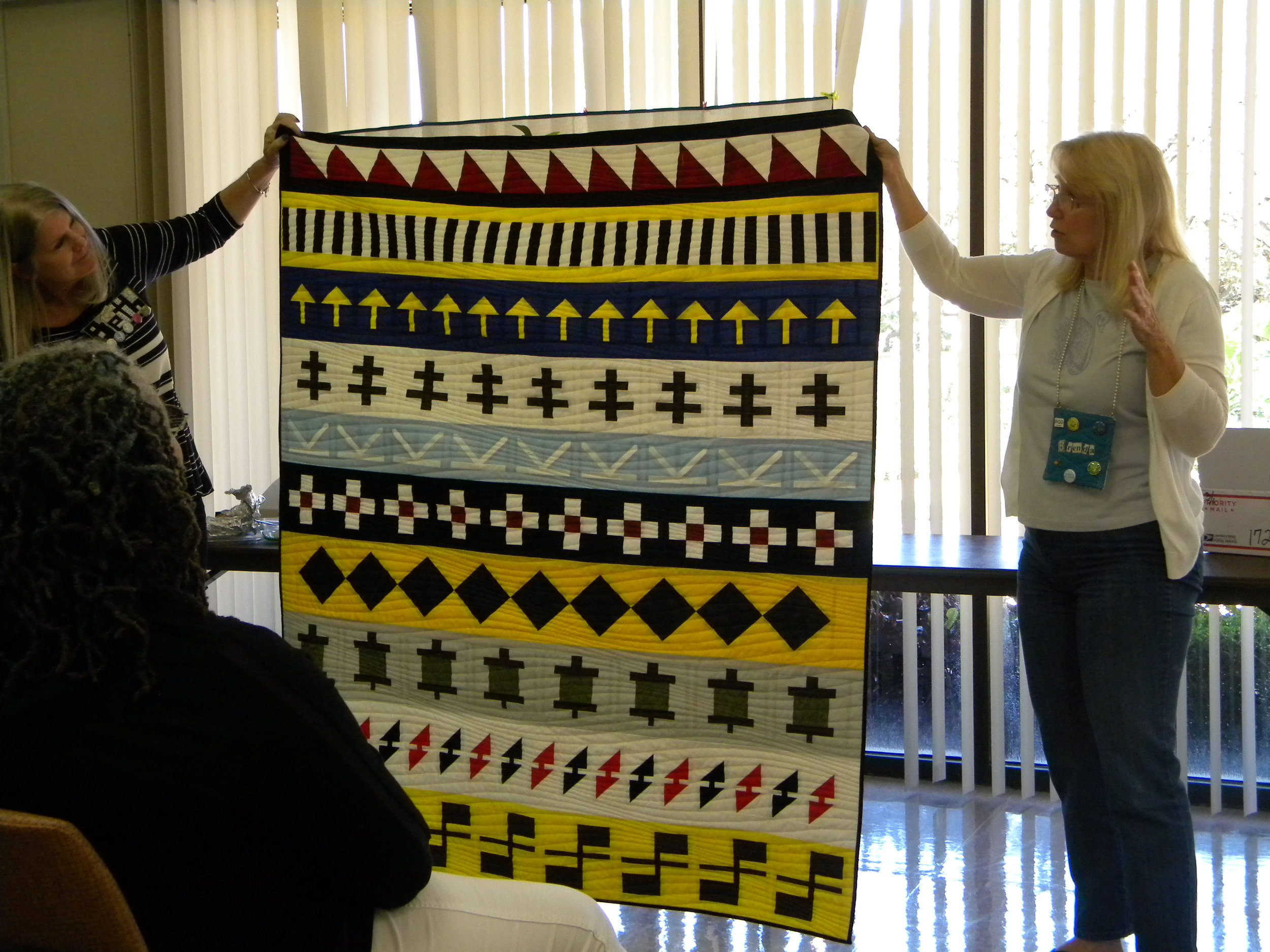 Brenda and her wonderful seminole quilt.