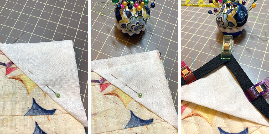 Sewing on the corner pocket (made from HST) during binding.