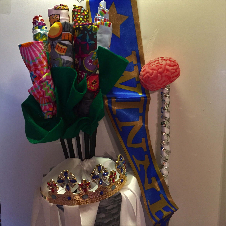 QAL Queen crown, sash, fabric flower bouquet and brain scepter