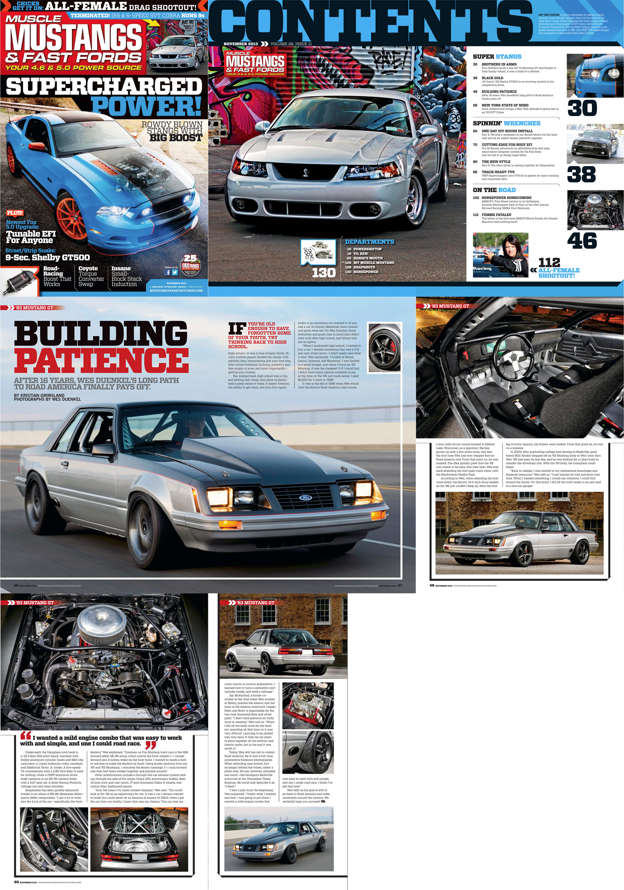 Published in the November 2013 issue of  Muscle Mustangs and Fast Fords Magazine