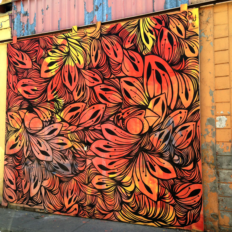Mural painted for Project Wallflowers at Pasaje Maria Teresa, Santiago de Chile, Chile 2016