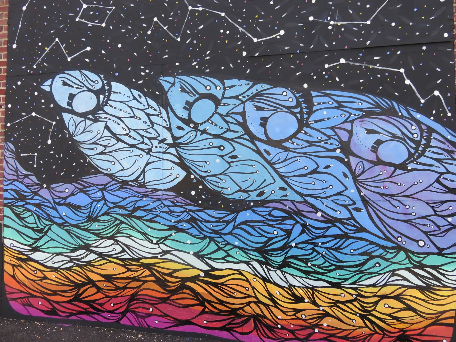 Detail Shot -Mural painted for Wooden Walls Project , Asbury Park , NJ 2015