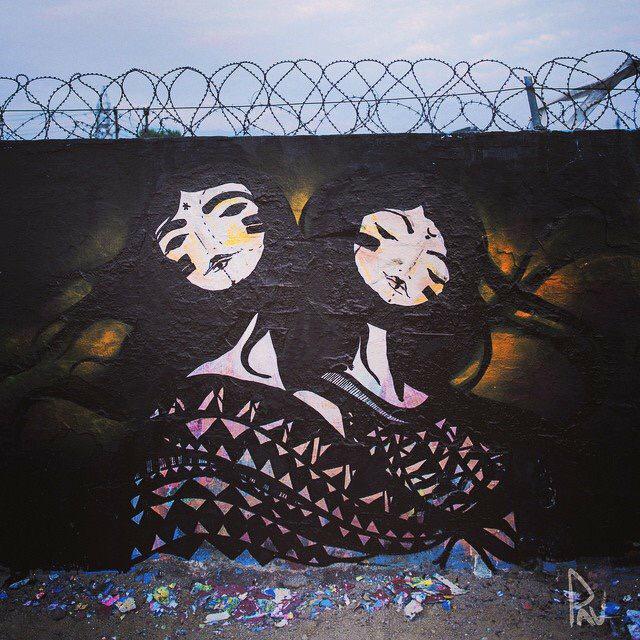 HERMANAS - sisters Mural painted in Santiago de Chile , 2012