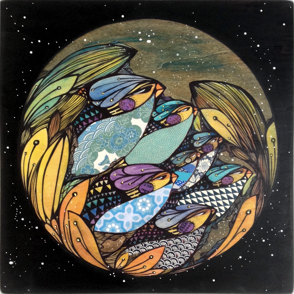 THE JOURNEY °5- NIGHT - (Coming Full Circle Series) 2013 | Media on Wood pannel / 40x40 cm