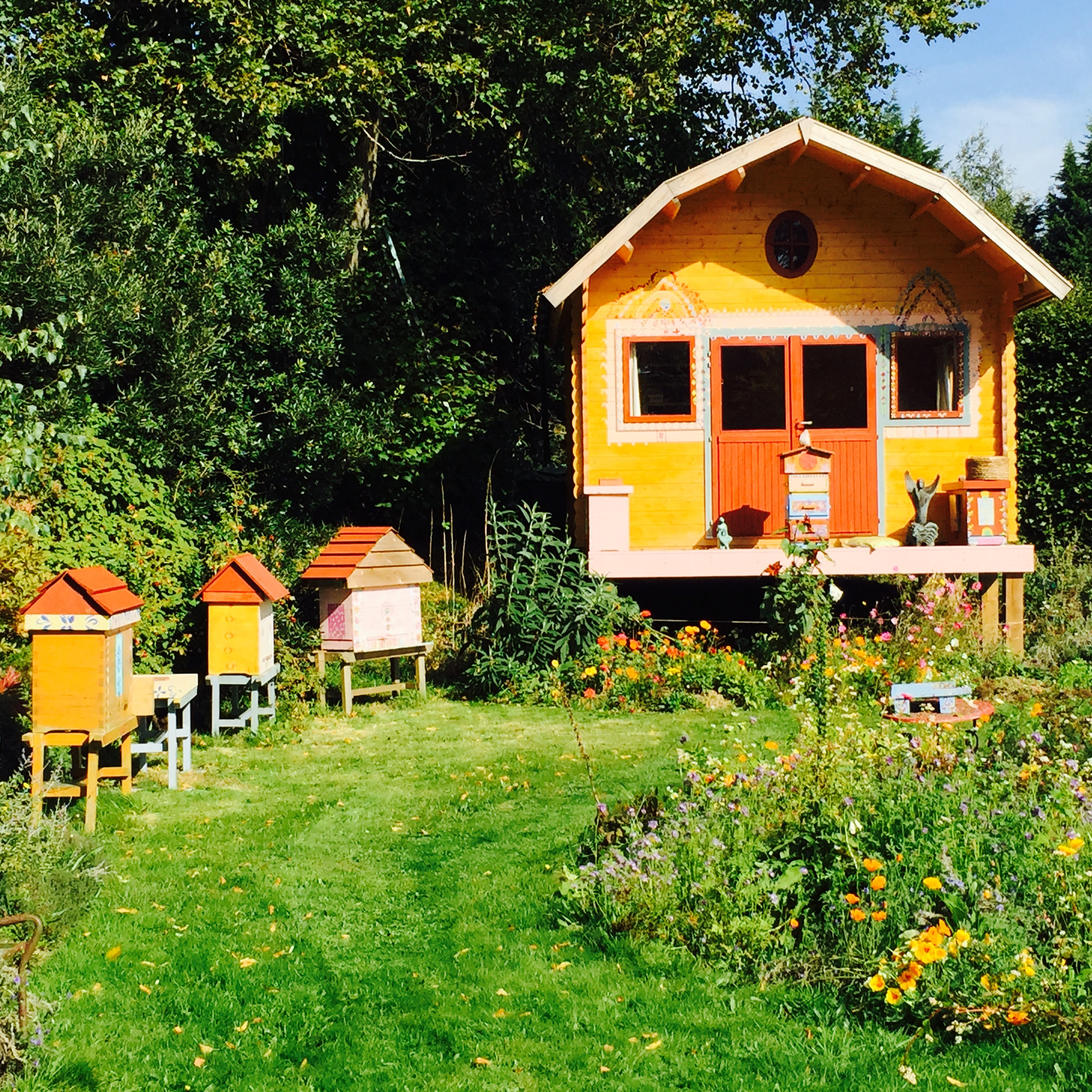 Golden and warré hives from  The Natural Beekeeping Trust , UK.
