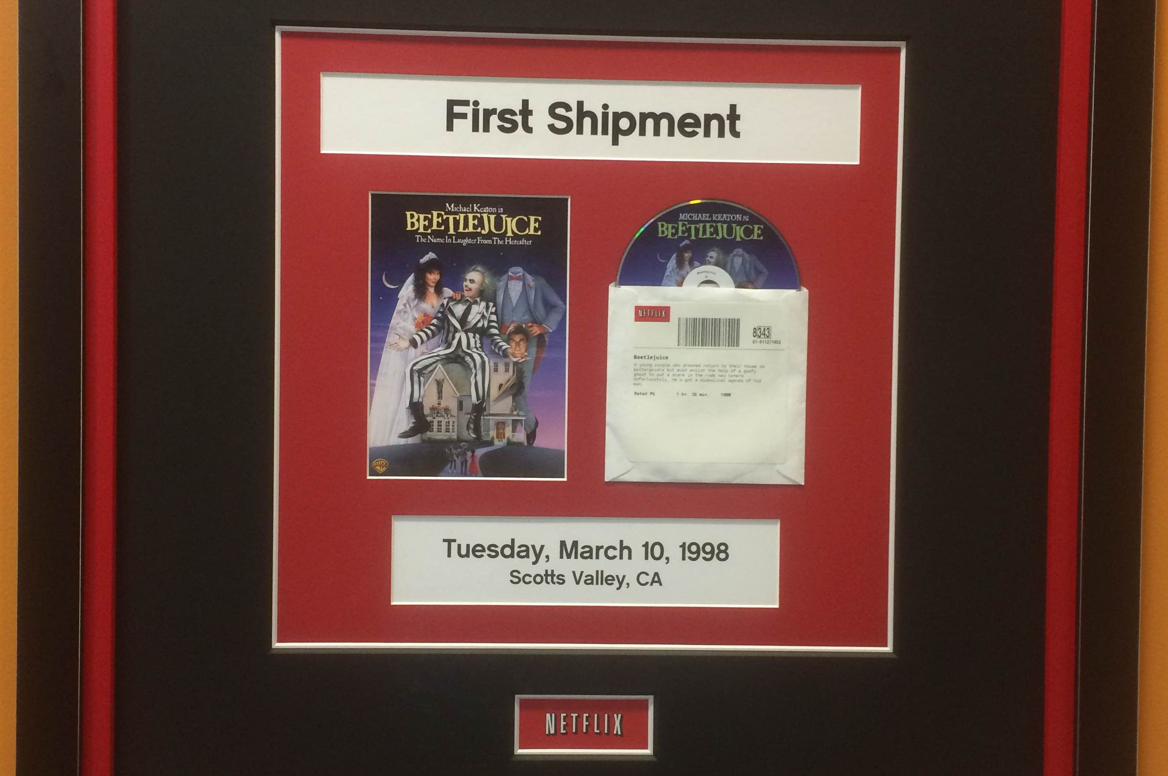The first DVD we ever shipped! It's framed and hangs proudly in the office. The next milestone is the five billionth shipment.