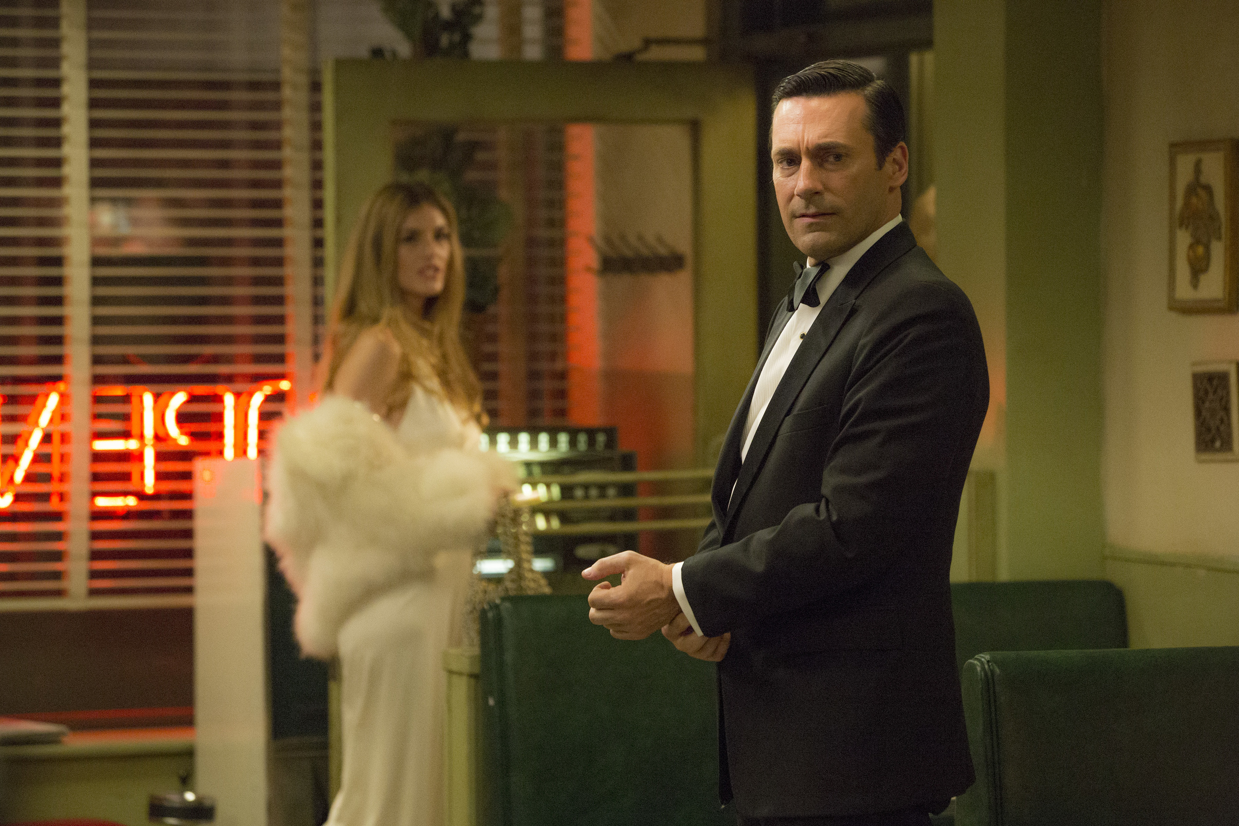 Maliabeth Johnson as Audrey and Jon Hamm as Don Draper - Mad Men _ Season 7B, Episode 8 - Photo Credit: Michael Yarish/AMC