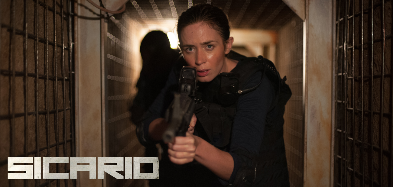 Emily Blunt, Benicio del Toro, and Josh Brolin star in action thriller Sicario.