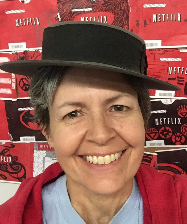 Here's Beth with her handmade porkpie hat in honor of Buster's birthday (10/4)!